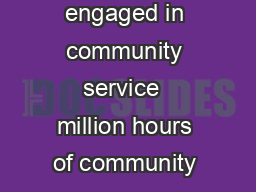 million students engaged in community service  million hours of community ser