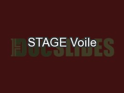 STAGE Voile