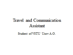 Travel and Communication Assistant PowerPoint PPT Presentation