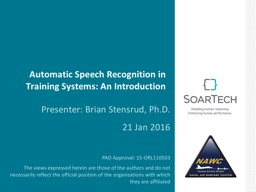 Automatic Speech Recognition in Training Systems: An Introd