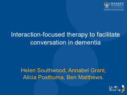 Interaction-focused therapy to facilitate conversation in d