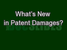 What�s New in Patent Damages?