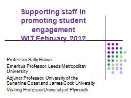 Supporting staff in promoting student engagement