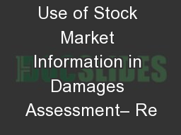 Use of Stock Market Information in Damages Assessment� Re