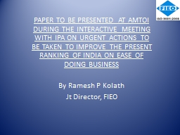 PAPER TO BE PRESENTED AT AMTOI DURING THE INTERACTIVE MEETI