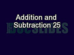 Addition and Subtraction 25