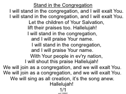 Stand in the Congregation
