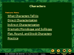 What Characters Tell Us