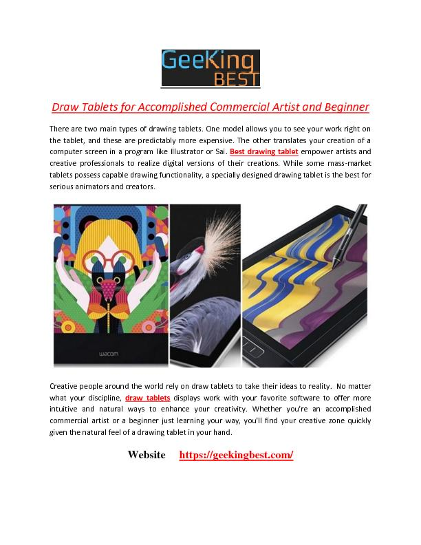 Draw Tablets for Accomplished Commercial Artist and Beginner