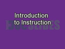 Introduction to Instruction