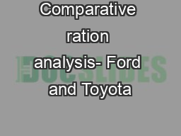 Comparative ration analysis- Ford and Toyota