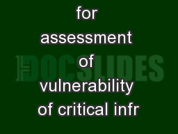 Approaches for assessment of vulnerability of critical infr