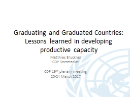 Graduating and Graduated Countries: Lessons learned in deve