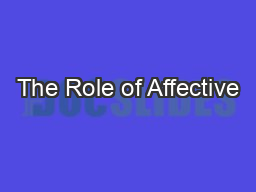 The Role of Affective