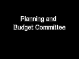 Planning and Budget Committee
