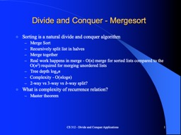 CS 312 - Divide and Conquer/Recurrence Relations