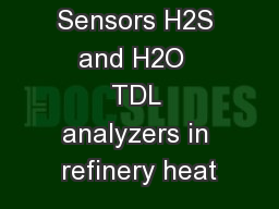 Spectra Sensors H2S and H2O  TDL analyzers in refinery heat