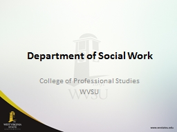 Department of Social Work PowerPoint PPT Presentation
