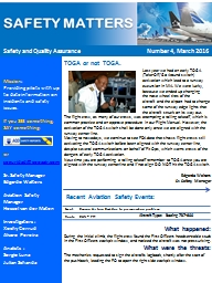 Safety and Quality AssuranceNumber 4, March 2016