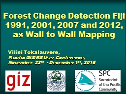 Forest Change Detection Fiji 1991, 2001, 2007 and 2012, as