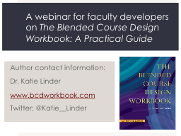 A webinar for faculty developers on