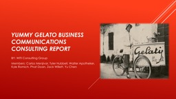 YummY GelATO BUSINESS COMMUNICATIONS CONSULTING REPORT
