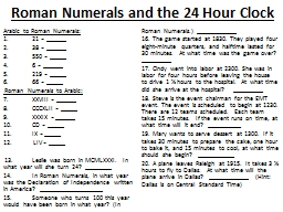 Roman Numerals and the 24 Hour Clock