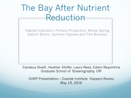 The Bay After Nutrient Reduction PowerPoint PPT Presentation