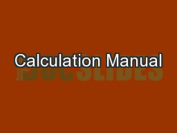 Calculation Manual PowerPoint PPT Presentation