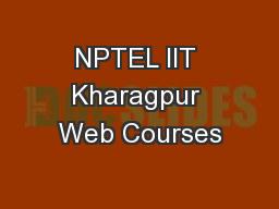 NPTEL IIT Kharagpur Web Courses