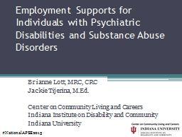 Employment Supports for Individuals with Psychiatric Disabi