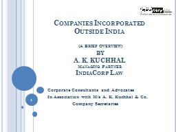 Companies Incorporated  Outside India