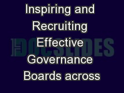 Inspiring and Recruiting Effective Governance Boards across