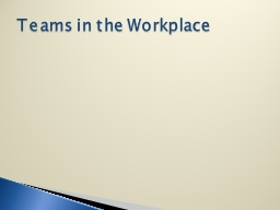 Teams in the Workplace PowerPoint PPT Presentation