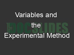 Variables and the Experimental Method