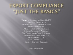 """EXPORT COMPLIANCE """"Just the Basics"""""""