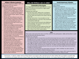 Why did William win in 1066?