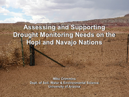Assessing and Supporting Drought Monitoring Needs on the Ho