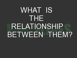 WHAT  IS  THE  RELATIONSHIP  BETWEEN  THEM?