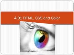 4.01 HTML, CSS and Color