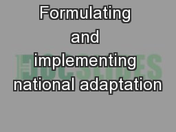 Formulating and implementing national adaptation