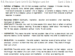 R.E. Revision Card: Unit 5: Q1 Religion and Art Card PowerPoint PPT Presentation