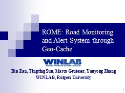 1 ROME: Road Monitoring and Alert System