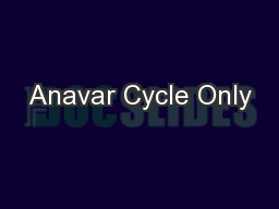 Anavar Cycle Only