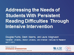 Addressing the Needs of Students With Persistent Reading Di PowerPoint PPT Presentation