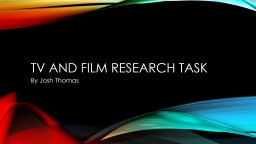 Tv and Film Research Task