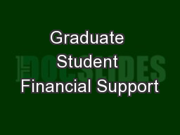 Graduate Student Financial Support