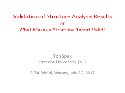 Validation of Structure Analysis Results