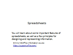 Spreadsheets PowerPoint PPT Presentation