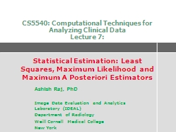 CS5540: Computational Techniques for Analyzing Clinical Dat